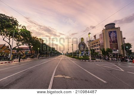 BANGKOK THAILAND - OCTOBER 26: An empty Ratchadamnoen Avenue for the cremation of Rama 9 the former king in Bangkok Thailand on October 26 2017.