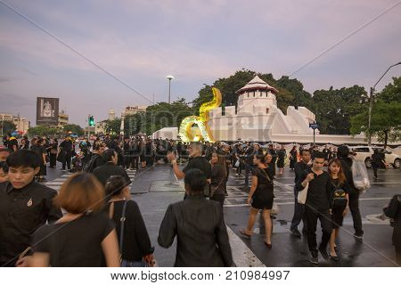 BANGKOK THAILAND - OCTOBER 26: Unidentified people walk around Ratchadamnoen Avenue for the cremation of Rama 9 the former king in Bangkok Thailand on October 26 2017.