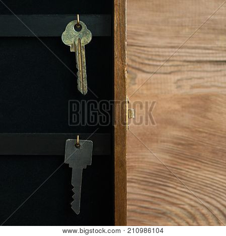 Organize Your Life, Insurance And Security Concept: Vintage Opened Wooden Key Holder Box Cabinet Wit