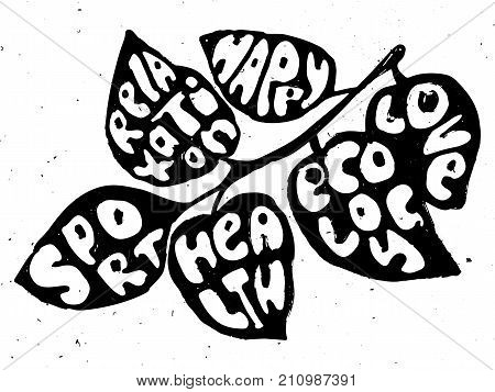 Healthy Life balanse vector concept illustration. Leaves with lettering on them about sport, health and happy life with texture, isolated on white background. Balanced part of human life