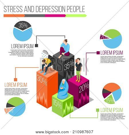 Stress people isometric infographics with charts and information about nervous disorders on white background vector illustration