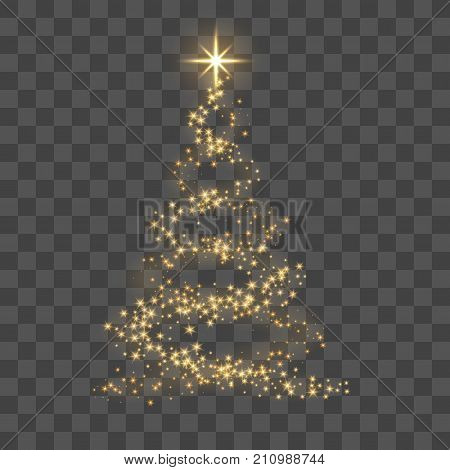 Gold Christmas Tree On Transparent Background Happy New Year Vector Illustration