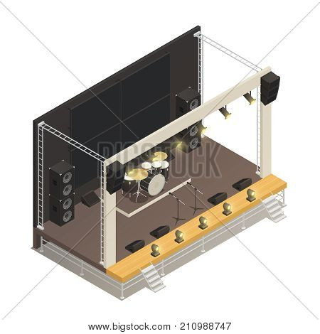 Truss construction of outdoor festival stage with powerful audio amplifiers and drums isometric design concept vector illustration