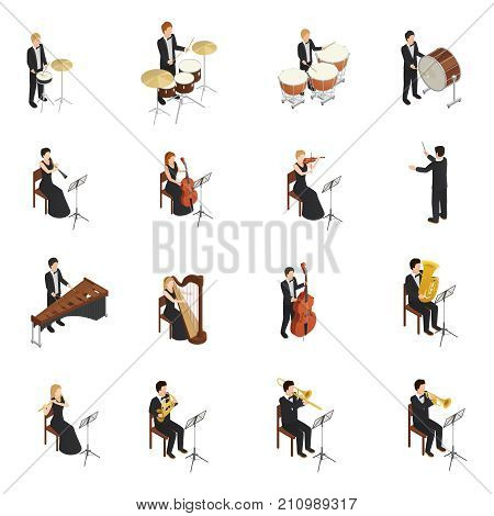Isometric set of male and female people dressed in costumes and gowns playing various musical instruments in orchestra isolated on white background 3d vector illustration