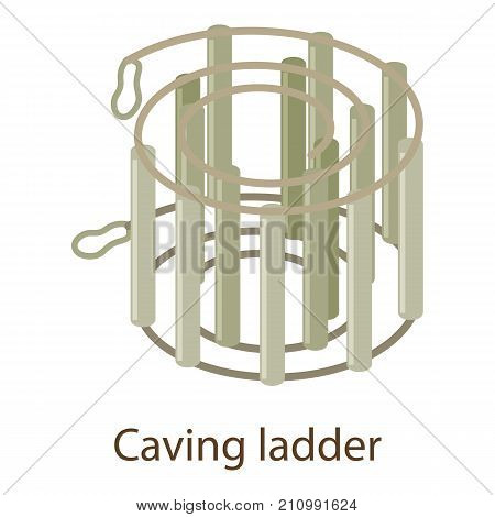 Caving ladder icon. Isometric illustration of caving ladder vector icon for web