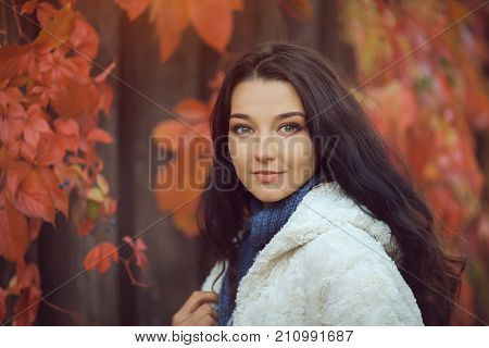 Autumn Beauty. Cute Woman in the Autumn Park Outdoors in Sunny Day. Portrait of happy lovely and beautiful mixed race Asian Caucasian young girl in white casual clothes outdoor against blurred bokeh nature background