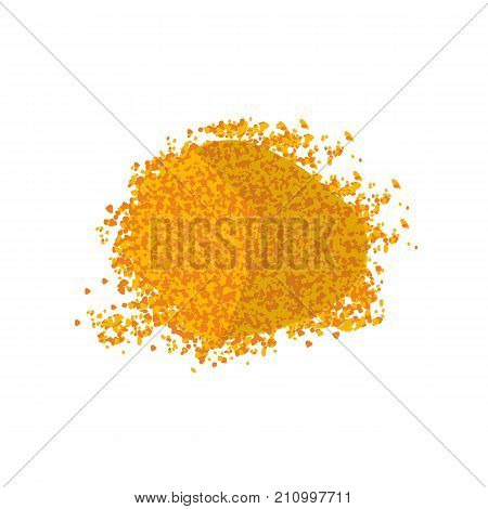 Heap of turmeric. Curcumin powder. Isolated on white background top vew. Vector illustration flat design