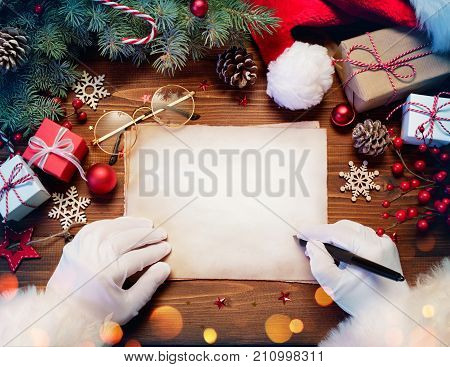 Santa Claus Desk With Letter And Christmas Present