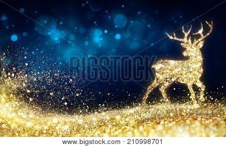 Christmas - Golden Reindeer In Abstract Night- Illustration