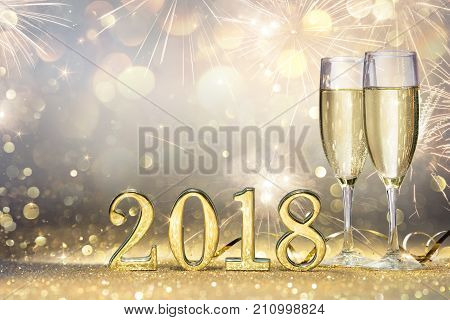 New Year 2018 - Two Flutes With Champagne And Golden Numbers