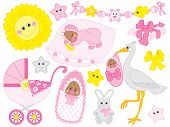 Vector set for baby girl shower. Set includes cute African American baby girl, stroller, stork,  sun, diapers  and toys. Vector baby girl shower. African American baby girl Vector illustration poster