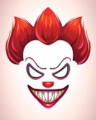 Creepy clown mask. Vector angry Joker face elements for scary photo decoration. poster