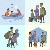 The Refugee Family with Children. Sailing to Europe on the Boat. Land Transition and Life in the Refugee Camp. European Migrant Crisis Concept. Vector Illustration, isolated. poster