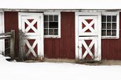 A pair of red and white stable doors poster