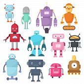 Cute cartoon robots, android and spaceman cyborg isolated vector set. Robot characters illustration poster