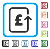 Reverse Pound Transaction icon. Flat gray iconic symbol inside a light blue rounded rectangle. Black, gray, green, blue, red, orange color additional versions of Reverse Pound Transaction vector. poster