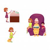 vector flat grandparents and children set. boy, girl kids listening to grandmother reading book, sitting at chair, girls wash dishes at sink, sweep floor. Isolated illustration on a white background. poster