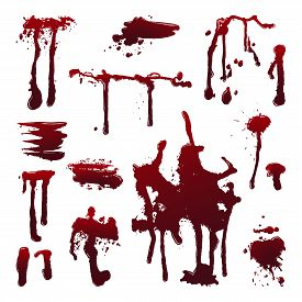 Dripping blood on isolated background. Set of dripping blood drops and trail, smear, splash, dripping. Paint splatters. Abstract vector illustration, design elements for Halloween party banner, flyer