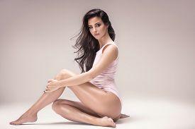 Sensual Attractive Lady Posing In Studio.