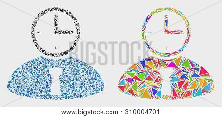 Time Manager Mosaic Icon Of Triangle Items Which Have Different Sizes And Shapes And Colors. Geometr