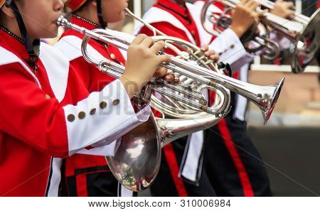 March Band Group Show Music Performance With Trumpet And Wind Instrument