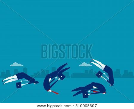 Business People Burying Head In The Ground. Concept Business Vector Illustration.