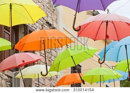Novigrad, Istria, Croatia, Europe - Umbrellas In The Streets Of Novigrad