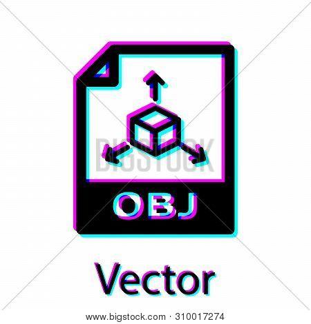 Black Obj File Document Icon. Download Obj Button Icon Isolated On White Background. Obj File Symbol