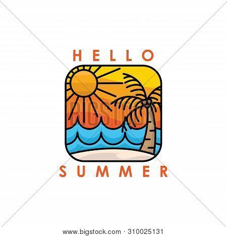 Hello Summer. Summer Season. Summer. Summer Time. Happy Summer. Summer Day. Summer Design. Summer Vector. Summer Text. Summer Lettering. Summer Art,EPS10. Summer Background. Summer Time. Summer Icon, Summer Illustration. Summer Holidays