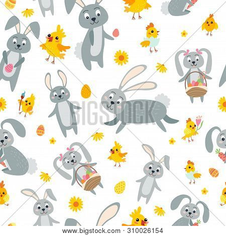 Easter Seamless Pattern. Holiday Vintage Background With Cartoon Easter Symbol.