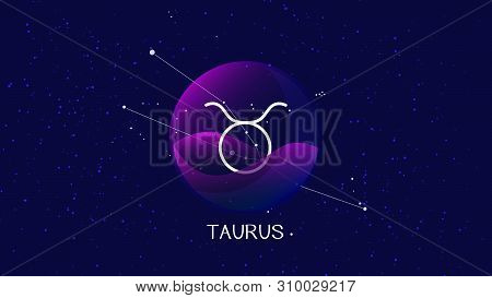 Beautiful And Simple Vector Image Representing Night, Starry Sky With Taurus Or Bull Zodiac Constell