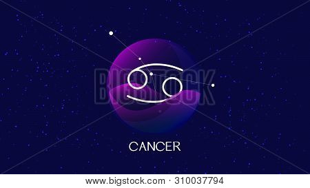 Beautiful And Simple Vector Image Representing Night, Starry Sky With Cancer Zodiac Constellation Be
