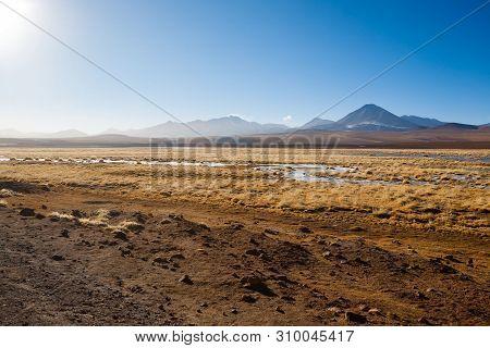 Chilean Landscape, Lagoon And Licancabur Volcano. Chile Panorama