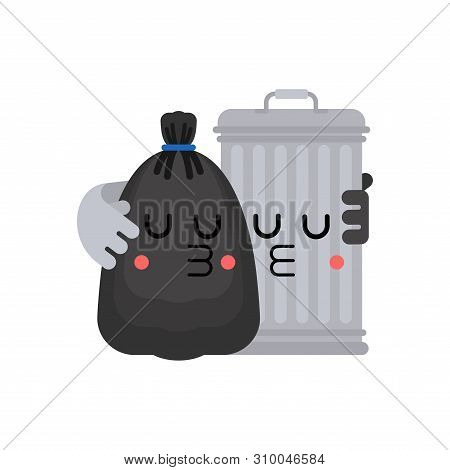 Trashcan And Garbage Bag Friends. Trash Can And Black Sack Couple. Rubbish Romance. Vector Illustrat