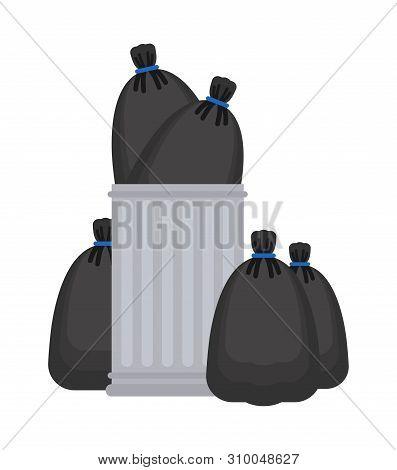 Trashcan And Garbage Bag. Trash Can And Black Sack. Rubbish Bin Vector Illustration