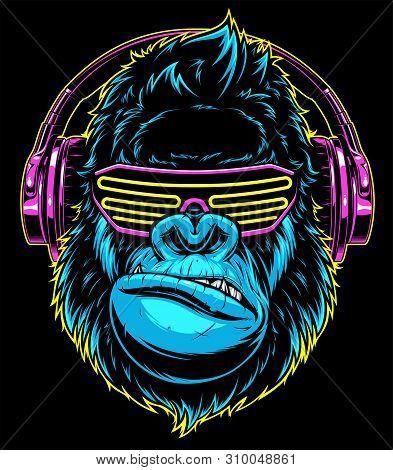 Vector Illustration. Funny Gorilla Listening To Music On Headphones, Stylish Dj.
