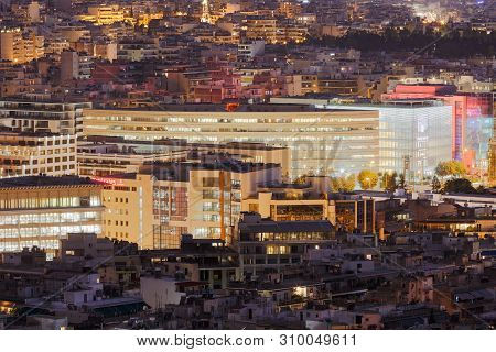 Athens, Greece - February 11, 2019: Central Athens As Seen From Filopappou Hill.