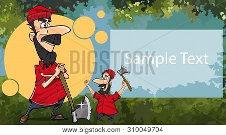 Postcard Poster With Two Joyous Cartoon Woodcutters And Place For Text