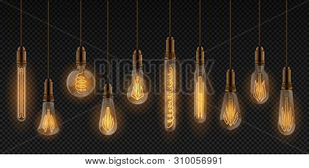Realistic Light Bulb. Electric Incandescent Lamps, Interior Decoration Elements, Glowing Light Bulbs