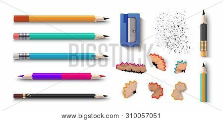 Realistic Pencils. 3d Colored School Stationery With Sharpener And Shavings. Vector Set Isolated Woo