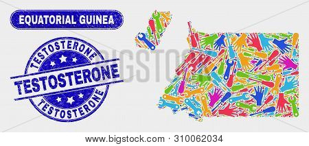 Productivity Equatorial Guinea Map And Blue Testosterone Textured Seal. Colorful Vector Equatorial G