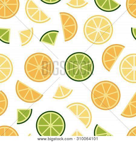Green Lime, Orange, Lemon Seamless Pattern Background. Flat Poster On Colorful Backdrop