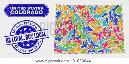 Productivity Colorado State Map And Blue Be Loyal. Buy Local. Grunge Stamp. Colored Vector Colorado