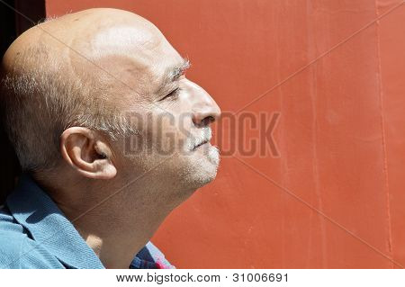 Profile Balding Senior Indian Male Hook Nose