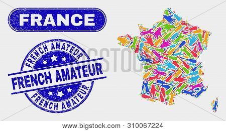 Factory France Map And Blue French Amateur Grunge Seal Stamp. Colored Vector France Map Mosaic Of Pr