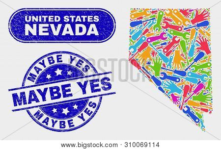 Production Nevada State Map And Blue Maybe Yes Textured Seal. Colorful Vector Nevada State Map Mosai
