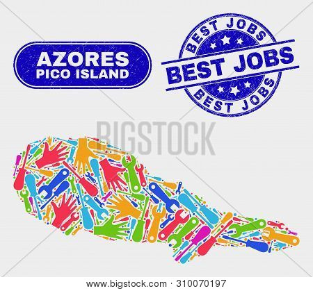 Production Pico Island Map And Blue Best Jobs Textured Stamp. Bright Vector Pico Island Map Mosaic O