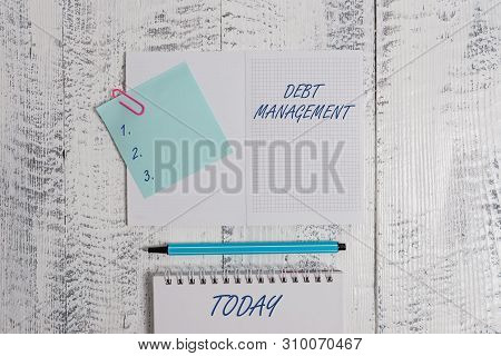 Word writing text Debt Management. Business concept for The formal agreement between a debtor and a creditor Open squared spiral notepad clip note highlighter lying old wooden background. poster