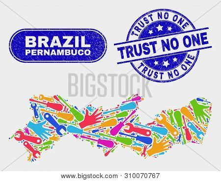 Factory Pernambuco State Map And Blue Trust No One Grunge Seal Stamp. Colored Vector Pernambuco Stat