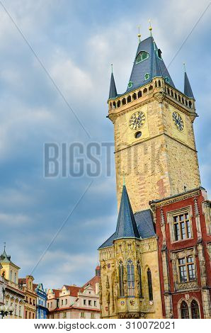 Vertical Photo Of Famous Old Town Hall In Czech Capital Prague. Photographed During Sunrise Golden H